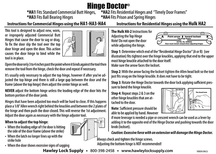 Hinge Doctor Instructions